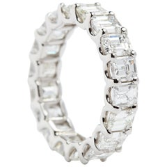 Platinum Eternity Emerald Cut Diamond Band 7.50 Carat