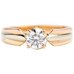 Tri-Tone 18 Karat Gold Cartier Solitaire Engagement Ring