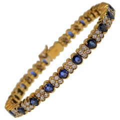 Blue Sapphire & White Diamond 18K Yellow Gold Bracelet