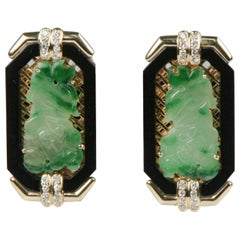 Imperial Jade with Onyx Border and Diamond Accents 18 Karat Yellow Gold Earrings