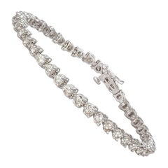 Ladies 14 Karat White Gold and Diamond Tennis Bracelet 4.10 Carat