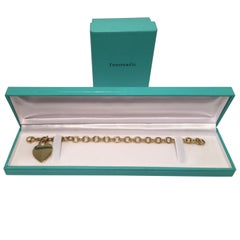 Tiffany & Co. 18 Karat Yellow Gold Charm Bracelet with Engravable Heart Tag