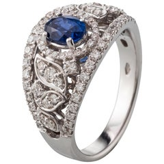 Oval Cut Blue Sapphire Diamond 18 Karat White Gold Ring