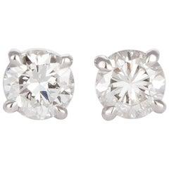Ladies 14 Karat White Gold and Diamond Stud Earrings 1.44 Carat