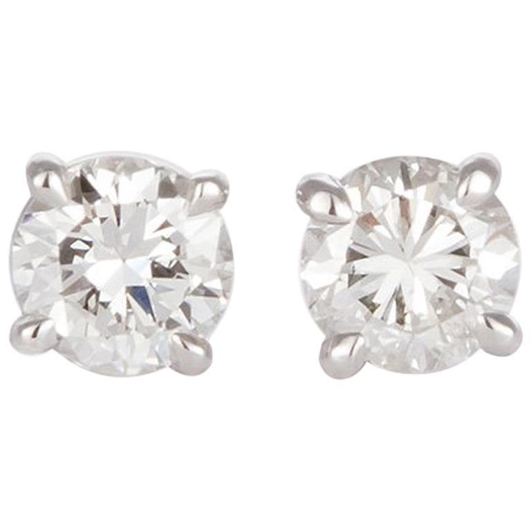 Ladies 14 Karat White Gold and Diamond Stud Earrings 1.44 Carat For Sale
