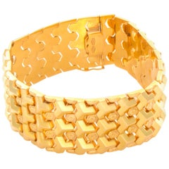 18 Karat Yellow Gold Geometric Link Bracelet
