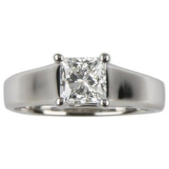 1.06 Carat Princess Cut Diamond Solitaire Platinum Engagement Ring