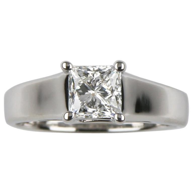 1.06 Carat Princess Cut Diamond Solitaire Platinum Engagement Ring