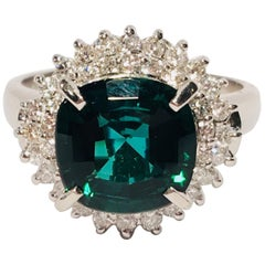 3.57 Carat Cushion Cut Indicolite Tourmaline Double Diamond Halo Platinum Ring
