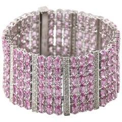53.63 Carat Pink Sapphire and Diamond 14 Karat White Gold Plaque Bracelet