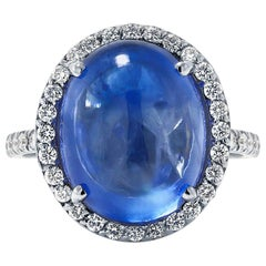 18 Karat White Gold Diamond Cocktail Ring with Cabochon Ceylon Sapphire 14 Carat