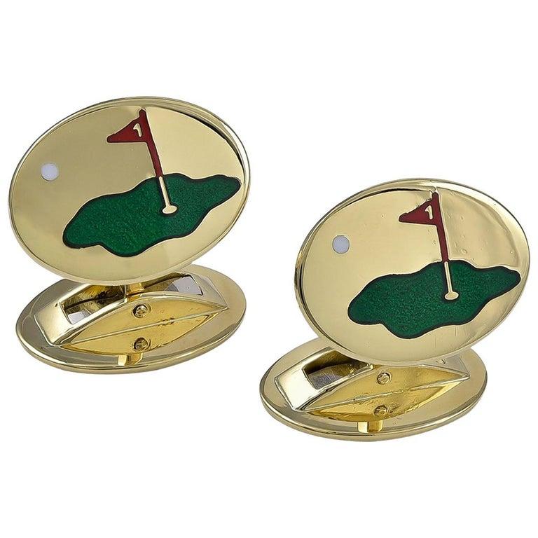 Gold and Enamel Asprey Golf Cufflinks For Sale
