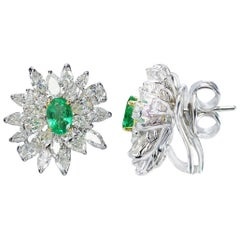 Studio Rêves 18 Karat Gold, Diamonds and Emerald Stud Earrings