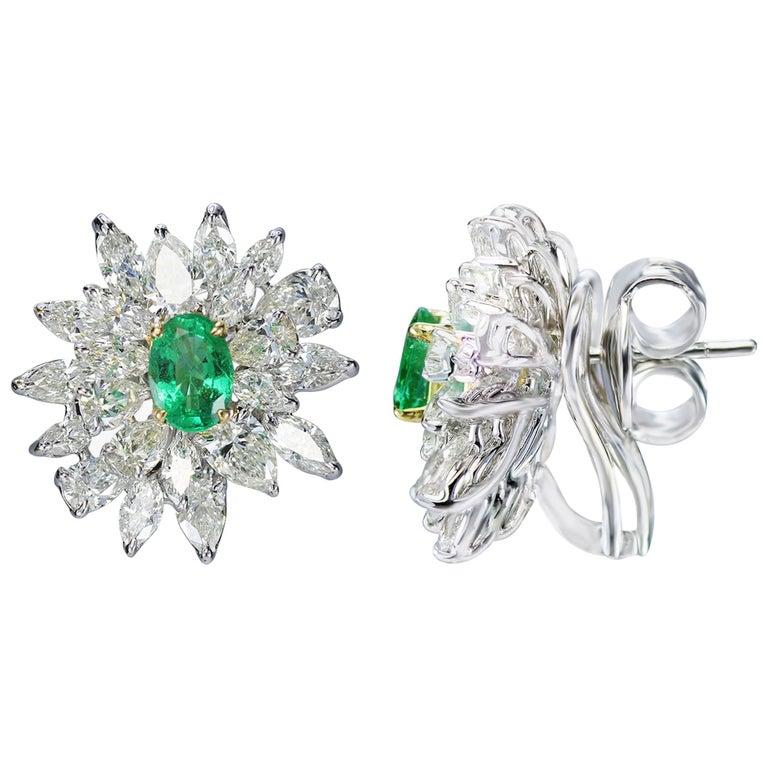 Studio Rêves 18 Karat Gold, Diamonds and Emerald Stud Earrings