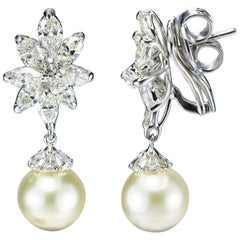 Studio Rêves 18K Gold, Marquise Diamonds and South Sea Pearl Earrings