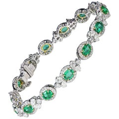 Studio Rêves 18 Karat Gold, Emerald and Diamond Tennis Bracelet