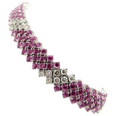 Estate High End 18 Karat White Gold Pink Sapphire and Diamond Bracelet