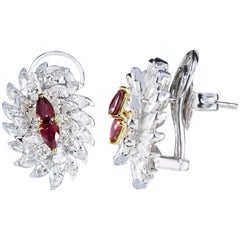 Studio Rêves 18 Karat Gold, Ruby and Marquise Diamond Stud Earrings