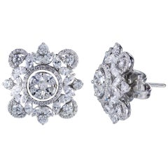 Studio Rêves 18 Karat Gold, Marquise and Round Diamonds Stud Earrings
