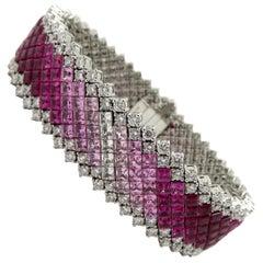 Estate High End Pink Sapphire, Diamond, and Ruby Bracelet 18 Karat White Gold