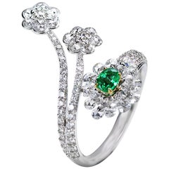 Studio Rêves 18 Karat Gold, Diamonds and Emerald Cluster Ring