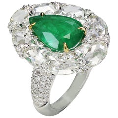 Studio Rêves 18 Karat Gold, Rose cut Diamonds and 3.59 Carat Emerald Ring