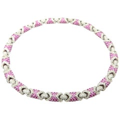 Estate High End 18 Karat Gold Diamond and Pink Sapphire Pave Necklace Choker