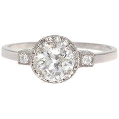 Art Deco Revival 0.91 Carat Diamond Platinum Engagement Ring