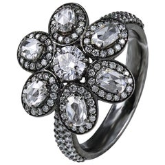 Studio Rêves 18 Karat Gold and Diamonds Floral Ring with Black Rhodium