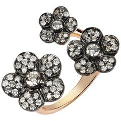 Rose Gold Icy Diamond Flower Cocktail Ring