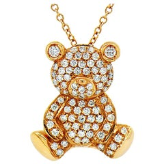 Diamond Teddy Bear Designer Pendant 18K Rose Gold By Assor Gioielli