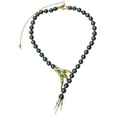Latreia by Mana Matsuzaki Claw Paraiba Tourmaline Diamond Pearl Necklace in 18K