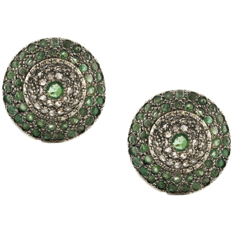 Emeralds Diamonds Rose Gold and Silver Clip-On Earrings