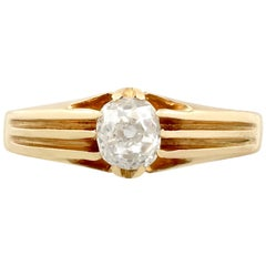 Antique 1914 Diamond and Yellow Gold Solitaire Ring