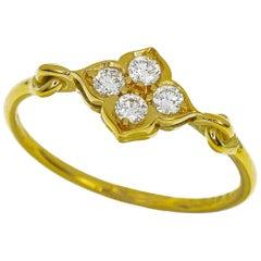 Cartier Diamond 18 Karat Yellow Gold Lotus Hindu Ring