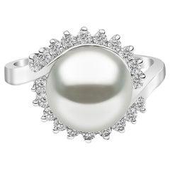 Yoko London Freshwater Pearl and Diamond Ring Set in 18 Karat White Gold