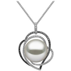 Yoko London South Sea Pearl, Black and White Diamond Necklace in 18 Karat Gold