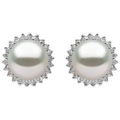 Yoko London Freshwater Pearl and Diamond Stud Earrings, Set in 18 Karat Gold