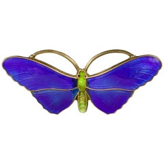 Antique Victorian Blue Enamel Butterfly Brooch Silver, circa 1900