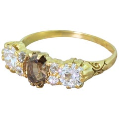 Victorian 2.10 Carat Fancy Cognac and White Old Cut Diamond Ring