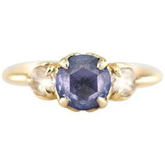 Aimee Kennedy, Rose Cut Blue Sapphire 3-Stone Ring with Leaf Detail