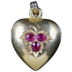 Antique Victorian Ruby Heart 18 Carat Gold Pendant, circa 1880