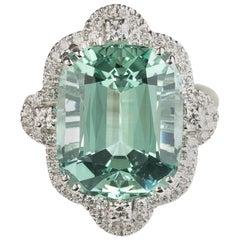 Green Aquamarine Diamond 18 Karat White Gold Cocktail Ring