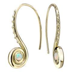 Venyx 18 Karat Yellow Gold Opal Pharaonys Small Loop Drop Earrings