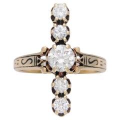 """Unique Midcentury 1.22 Carat Diamond """"Line"""" Cocktail Ring"""
