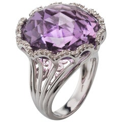 Amethyst Diamond 18 Karat White Gold Cocktail Ring