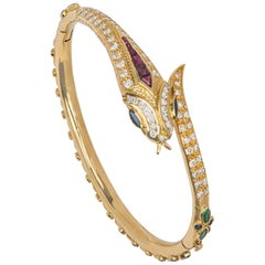 14 Karat Gold Diamonds and Multi Stone Snake Bracelet