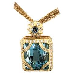 18 Karat Yellow Gold, Aquamarine '56.56 Carat', Diamond '4.82 Carat' Necklace
