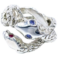 Ruby Tanzanite Two Head Snake Silver Ring J DAUPHIN