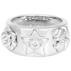 Chanel Floral Motif White Gold Ring